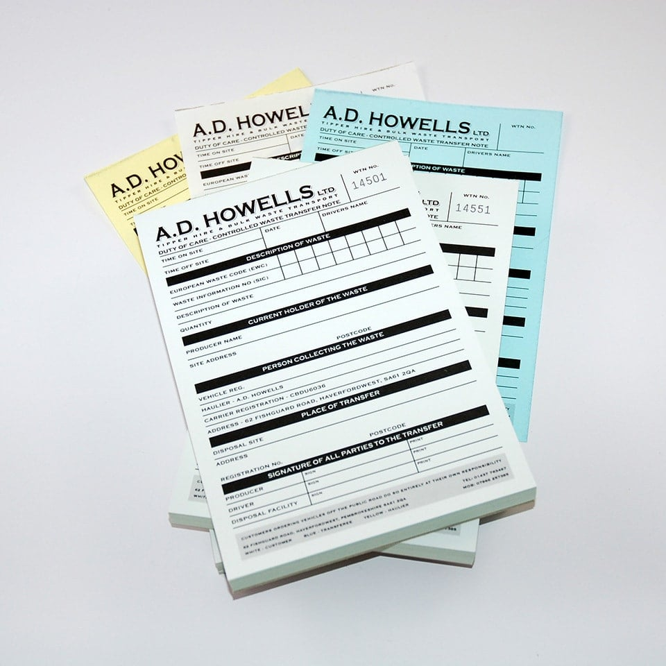 Waste transfer notes printers