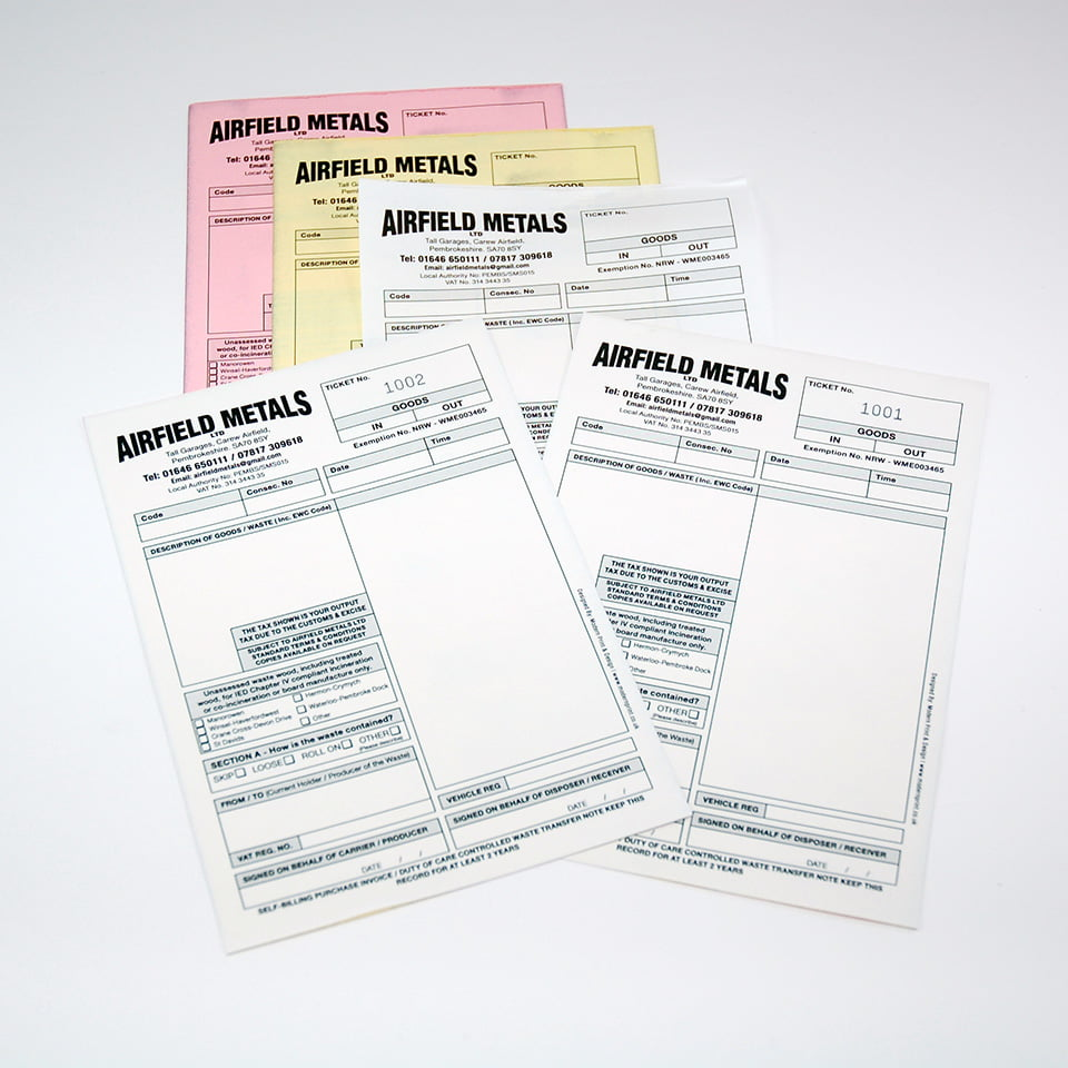 Waste Transfer Notes Printing for Airfield Metals